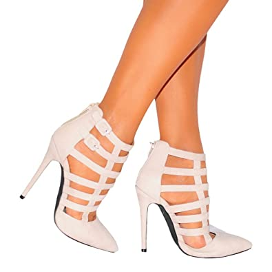 d55306d1ad1 Ladies Beige Nude Cut Outs Ankle Laceup Strappy Sandals Stilettos Pointed  Ankle Boots High Heels UK6