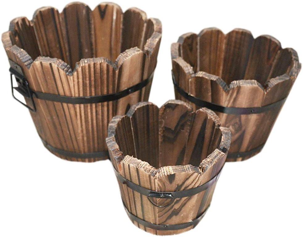 Set of 3 Wooden Bucket Barrel Planters, Rustic Patio Planters Flower Pots for Plants Indoor Décor