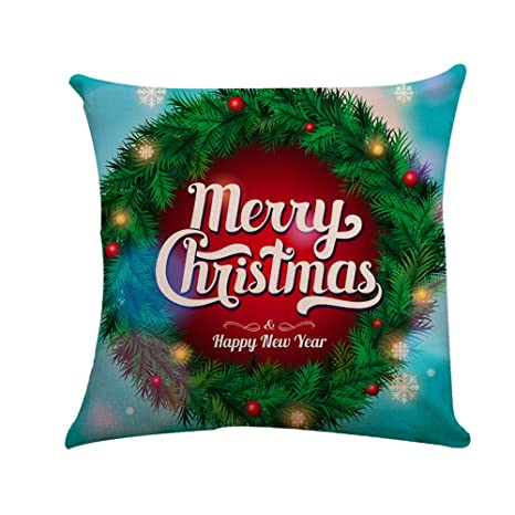 COOKDATE - Funda de cojín para sofá, diseño navideño con ...