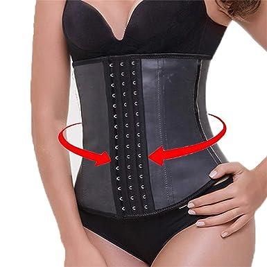 a3ba33482b 9pcs Steel Bone Waist Trainer Latex Shapewear Slimming Belt Waist Cincher  Hot Body Shaper at Amazon Women s Clothing store
