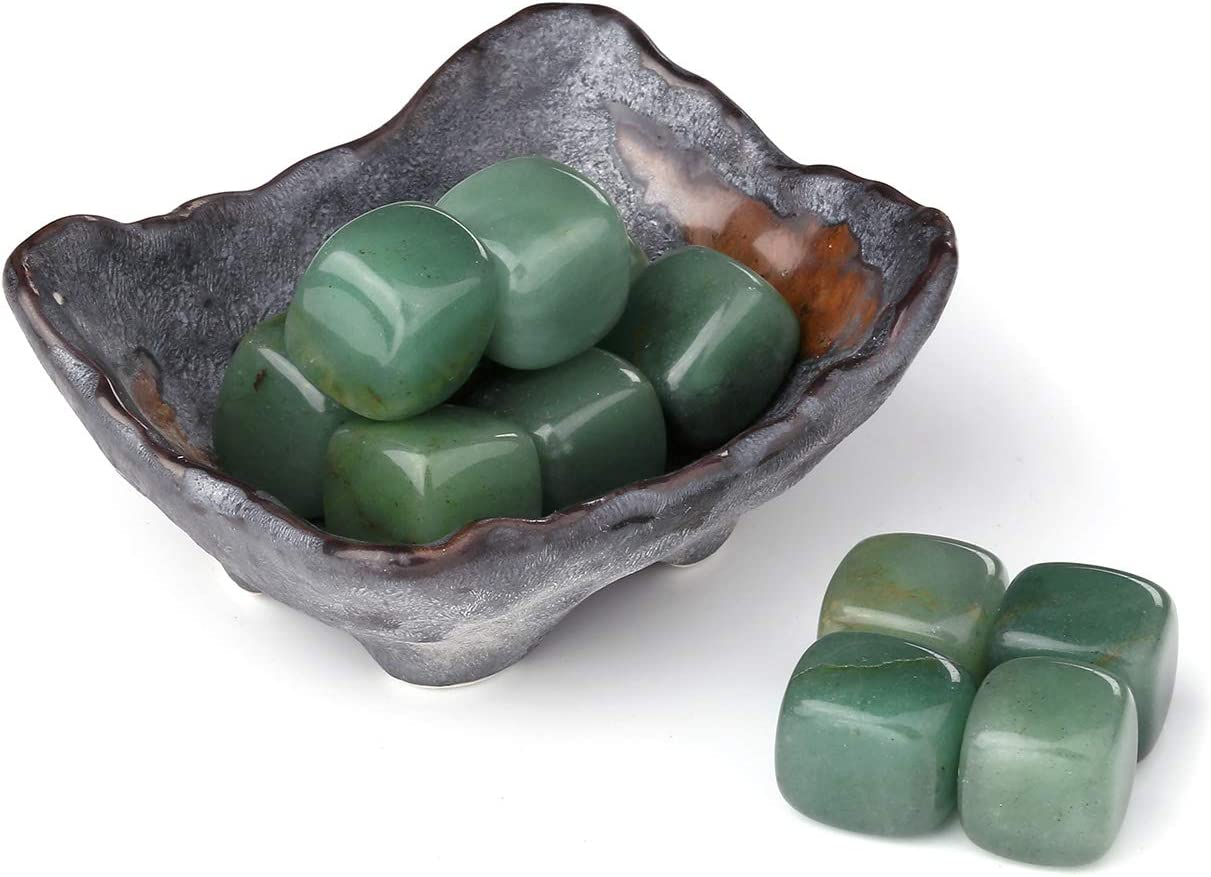 Jovivi 12pcs Irregular Natural Green Aventurine Chakra Healing Crystals Stones Kits Tumbled Gemstones w/Ceramic Holder Bowl for Reiki Meditation Spiritual Feng Shui Home Office Decor
