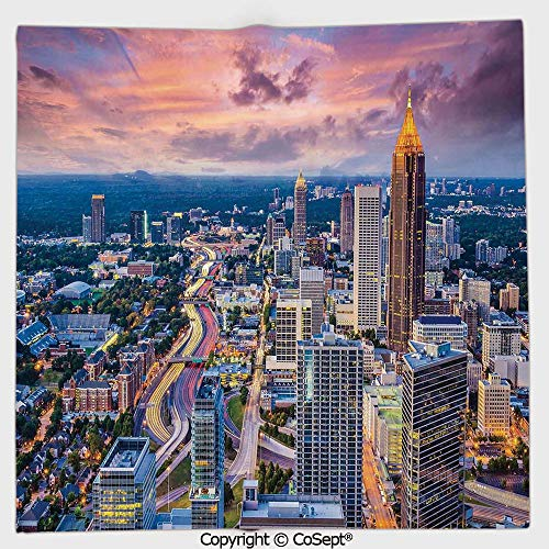 Long-Lasting and Soft Square Towel,Atlanta City Skyline at Sunset with Hazy Light Georgia Town American View,for Men Women(13.77x13.77 inch),Baby Pink Blue - Paper Roll Holder Atlanta