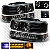 For 1999-2002 Chevy Silverado Black Halo LED Projector Headlights + LED Bumper Lights 2000 2001