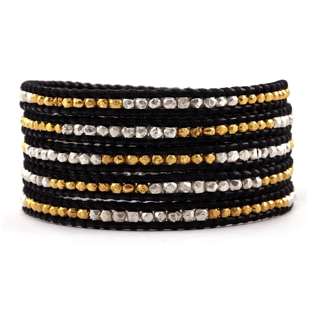 Chan Luu Gold and Silver Nugget Wrap Bracelet on Black Leather