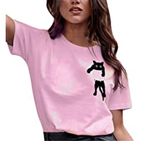 Cinnamou Top Cortos con Estampado de Gato de Mujer sin Mangas, Chaleco Deportes Camiseta de Mujer De Yoga Sexy Blusa…