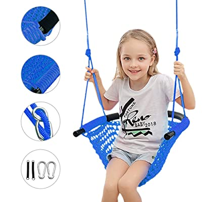 Beletops Kids Swing, Swing Seat for Kids with Adjustable Ropes Heavy Duty Rope Play Secure Children Swing Set Hand-kitting Rope Swing Seat Playground Platform Swing Complete Set (Blue): Toys & Games