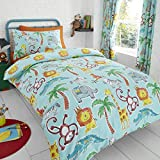 Happy Linen Company Childens Jungle Safari Animals Lion King Blue Teal Reversible Single Bedding Duvet Cover Set