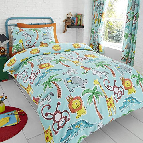 (Happy Linen Company HLC Childens Jungle Safari Animals Lion UK King/US Queen Teal Reversible UK Single/US Twin Bedding Duvet Cover Set )