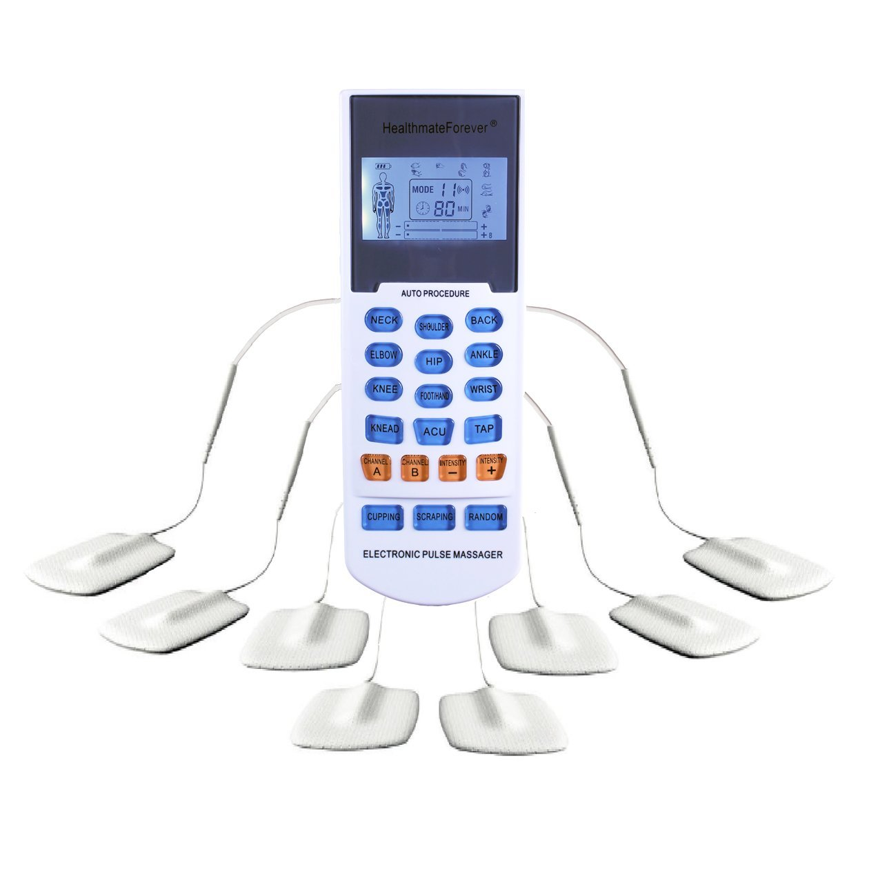 HealthmateForever 15 modes TENS unit | Pain Management | Facilitate Muscle Performance | Rechargeable | 4 Outputs&Dual Channels | Modes on Buttons | Lifetime Warranty | YK15RC