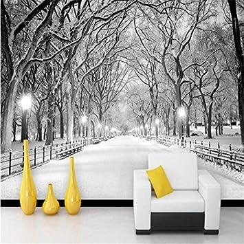 Yosot 3D Papel pintado Mural Personalizado En Blanco Y Negro Madera Nieve Carretera Ajuste Del Televisor Pintura Mural Foto Papel Tapiz Para 3D-250Cmx175Cm: Amazon.es: Bricolaje y herramientas