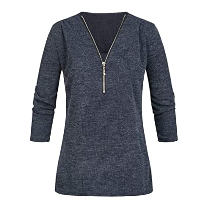 ❤ Camisa Casual Mujer, Tops Shirt Ladies V Neck Zipper Loose T-Shirt Blusa tee Top Absolute: Amazon.es: Ropa y accesorios