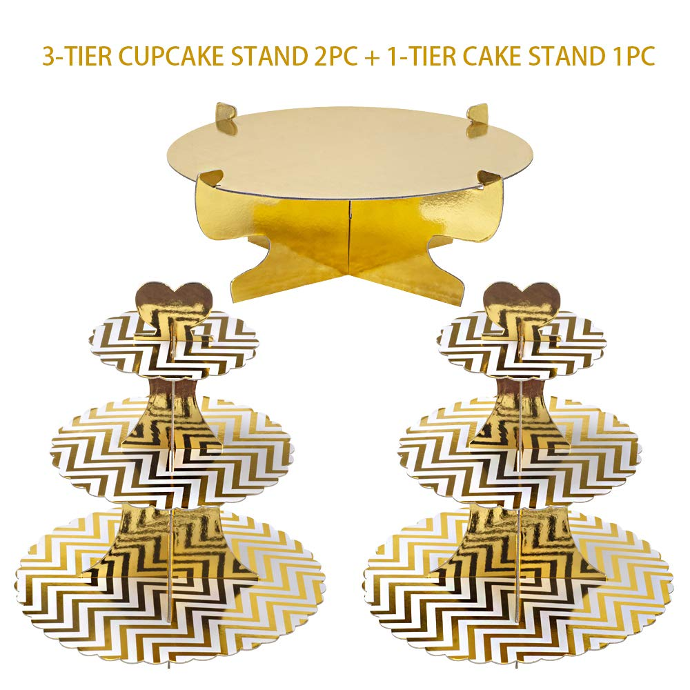 Cardboard Cupcake Stand Dessert Tower 3 Tier(2PC) + 1Tier(1PC) Paper Cake Stand For Birthday/Baby Shower/Wedding/Quinceanera/Party Decorations Supplies(Golden Ripple) 3-Pack by ZOOYOO