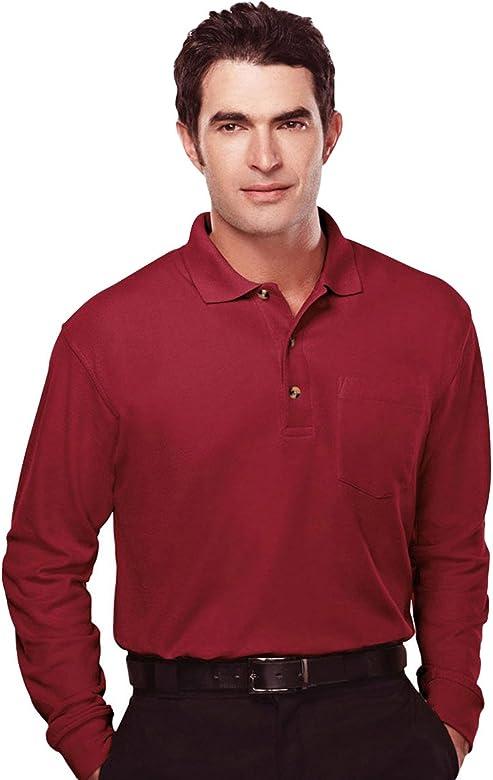 6 Colors, S-4XLT Mens Long Sleeve 3-Button Waffle-Knit Endurance Pocket Polo