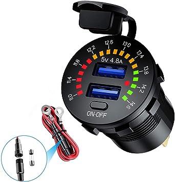 Dual Usb Steckdose 5v 4 8a Farb Digital Voltmeter 12v Auto Ladegerät Mit Ein Aus Schalter Für Pkw Lkws Motorräder Yachten Auto