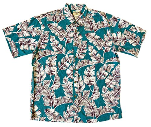 Street Hawaiian Shirt (Cooke Street Men's Honolulu Classic Hawaiian Shirt (Turquoise/Palm Leaf Print, X-Large))
