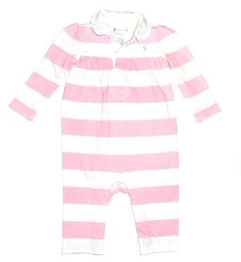 5bd01e4f02 NEW Genuine RALPH LAUREN Baby Girls Babygrow Playsuit - 96001 Pink Stripe  (9 Months)  Amazon.co.uk  Clothing