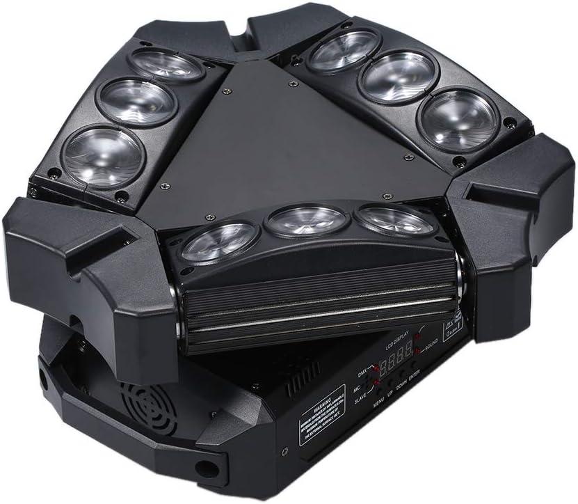 Activation du Son//Auto-Running//Master-Slave pour Disco DJ Show Lilideni AC100-240V 100W 9 LED RGB Rotation de la sc/ène de la Lampe Mini Triangle Spider Light Luminaire Pris en Charge DMX512