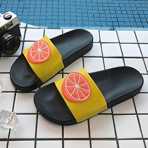 Arrastrar Son Chicas hogar Parejas Negro Verano y Naranja Preciosas de Baños Interiores fankou Suaves Zapatillas Encantador de 43 Antideslizantes Baño Frutas 44 Dulce wZ1vxnTCqt