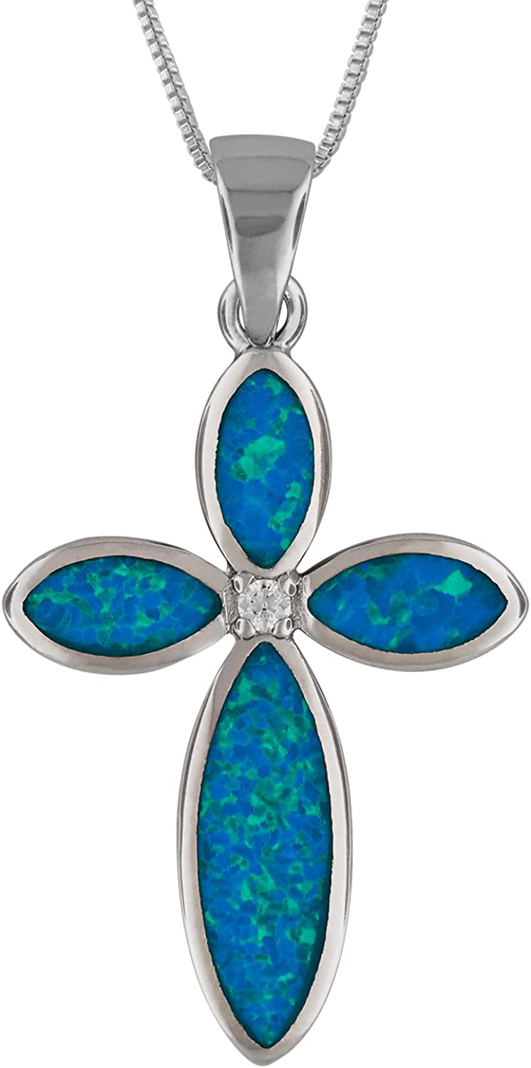 Sterling Silver Cross Necklace Synthetic Opal 16 inch 2 inch extension