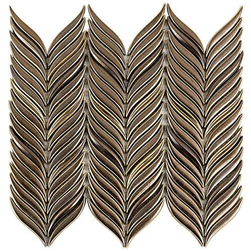 - Handcraft Ceramic Mosaic Tile. Series Baroque Petal (Single Sheet, Copper)