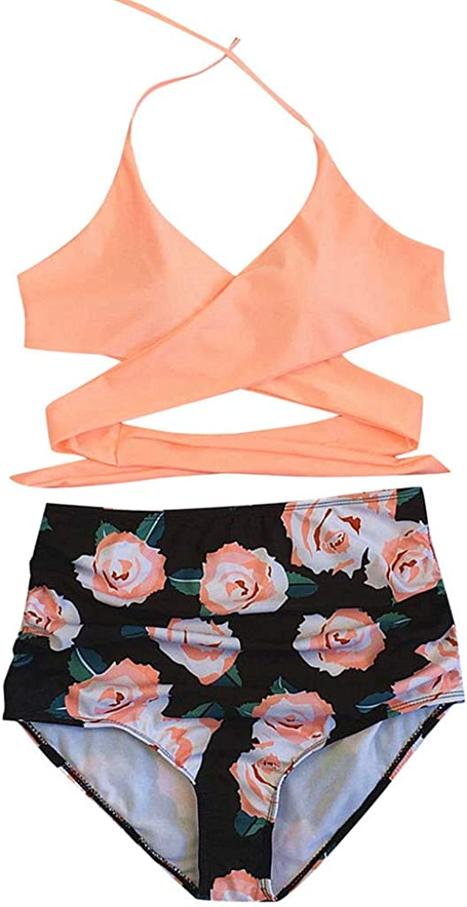 Hotkey Women Swimsuits Criss Cross High Waisted Two Piece Biniki Set Bathing Suits Swimwear Beachwear