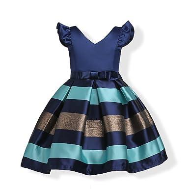 H&ZY Girls Dress Kids Ruffles Party Wedding Bridesmaid Retro Dresses
