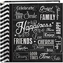 "Pioneer Photo Albums 200-Pocket Chalkboard Printed ""Happiness"" Theme Photo Album for 4 by 6-Inch Prints"