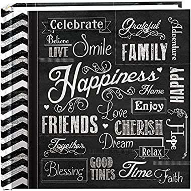 Pioneer Photo Albums 200-Pocket Chalkboard Printed  Happiness  Theme Photo Album for 4 by 6-Inch Prints