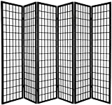 Legacy Decor 6-panel Room Screen Panel Divider Black Finish