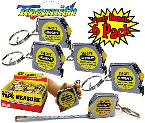 - Toysmith Mini Tape Measure (3FT) Keychain Party Favor Bundle - 6 Pack