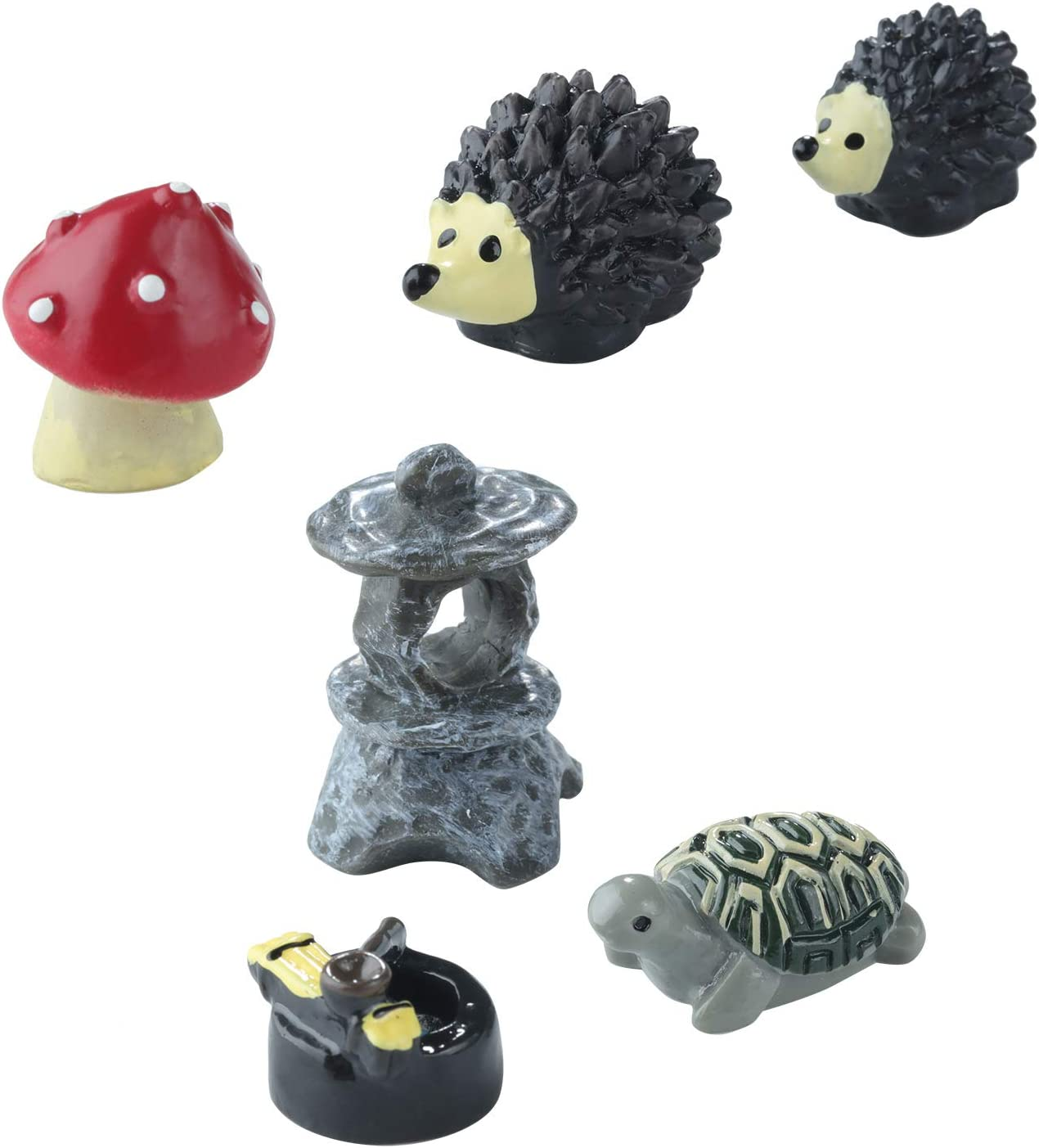 Sumind 6 Pieces Fairy Garden Accessories Miniature Garden Ornaments, Fairy Garden Animals for Dollhouse Decoration, Bonsai Craft, Micro Landscape, Mini Hedgehogs and Mushroom