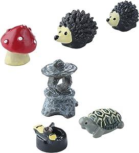 Sumind 6 Pieces Fairy Garden Accessories Miniature Garden Ornaments, Fairy Garden Animals for Dollhouse Decoration, Bonsai Craft, Micro Landscape, Mini Hedgehogs and Mushroom