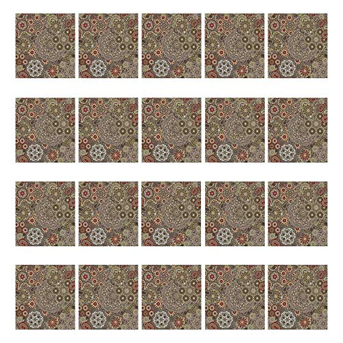 YOLIYANA Batik Decor Waterproof Ceramic Tile Stickers 20 Pieces,Vintage Paisley Forms with Batik Style Flowers and Circles Moroccan Persian Patterns for Home,3.9