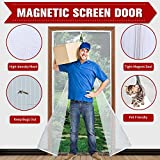 "Magnetic Screen Door 39""x 83"" with Heavy Duty Reinforced Mesh Curtain and Full Frame Velcro, Fits Door Size up to 36''X82'' Max- White"