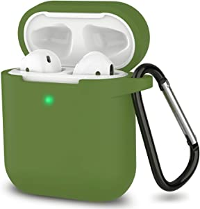 AirPods Case, Full Protective Silicone AirPods Accessories Cover Compatible with Apple AirPods 1&2 Wireless and Wired Charging Case(Front LED Visible),Olive Green