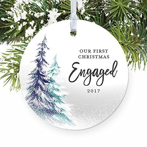 1st Christmas Engaged Ornament 2017, Engagement Party Gifts for Couple, First Xmas as Fiance Fiancee Man Woman Gay Present Idea Ceramic Keepsake 3