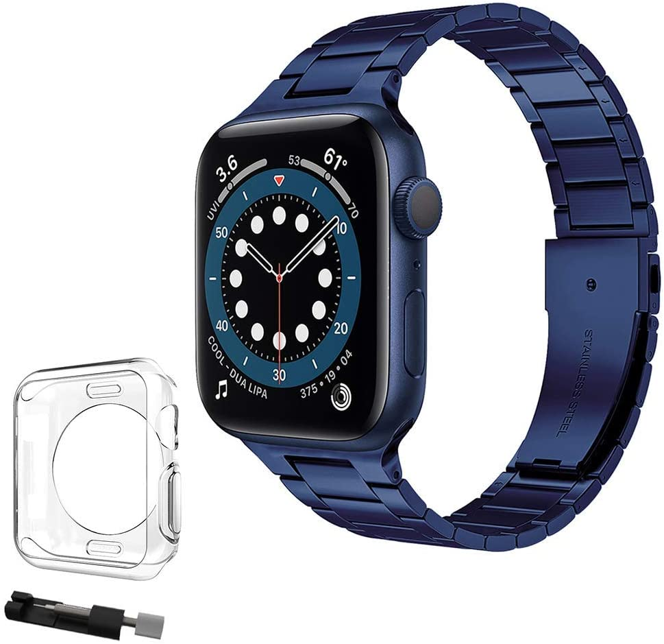 Thin Metal Band Compatible for Apple Watch Band 38mm 40mm 42mm 44mm with Case, Women Men Fashion Stainless Steel Strap for iWatch Series 6/5/4/3/2/1/SE/Sport (Royal Blue, 38mm/40mm)