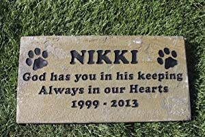 Sandblast Engraved Gray Stone Pet Memorial Headstone Grave Marker Dog Cat k 6x12