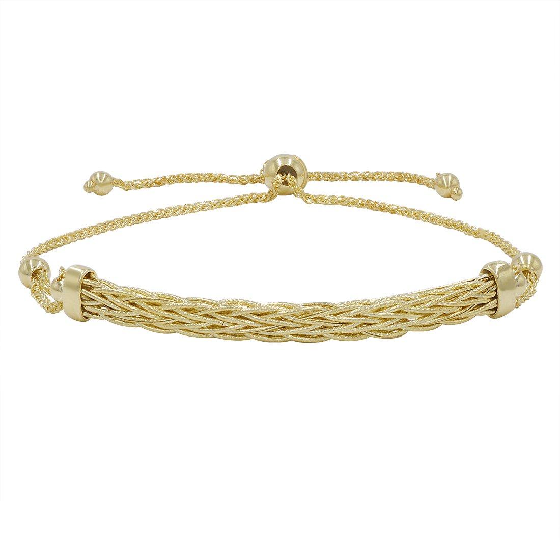 777d9cbd7127ad Amazon.com: 14k Yellow Gold Diamond Cut Bolo Bracelet (Adjustable up to 9  1/4 in.): Jewelry
