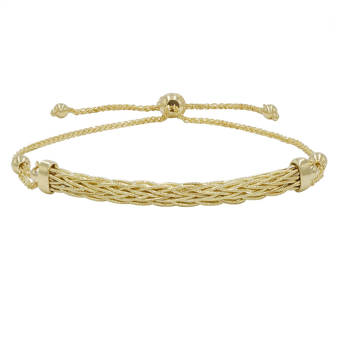 14k Yellow Gold Diamond Cut Bolo Bracelet (Adjustable up to 9 1/4 in.)