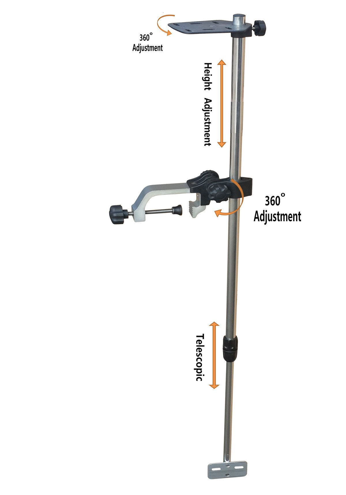 Brocraft Telescopic Portable Transducer Bracket + Universal Fishfinder Mount