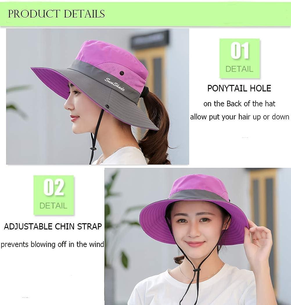 Wennmole Womens Ponytail UV Protection Wide Brim Sun Hats Outdoor Foldable Mesh Beach Hiking Fishing Cap