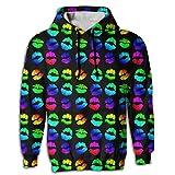 Best Fall Lipsticks - Lipstick Rainbow Sweatshirt Hooded Hoodies Drawstring Pullover Unisex Review