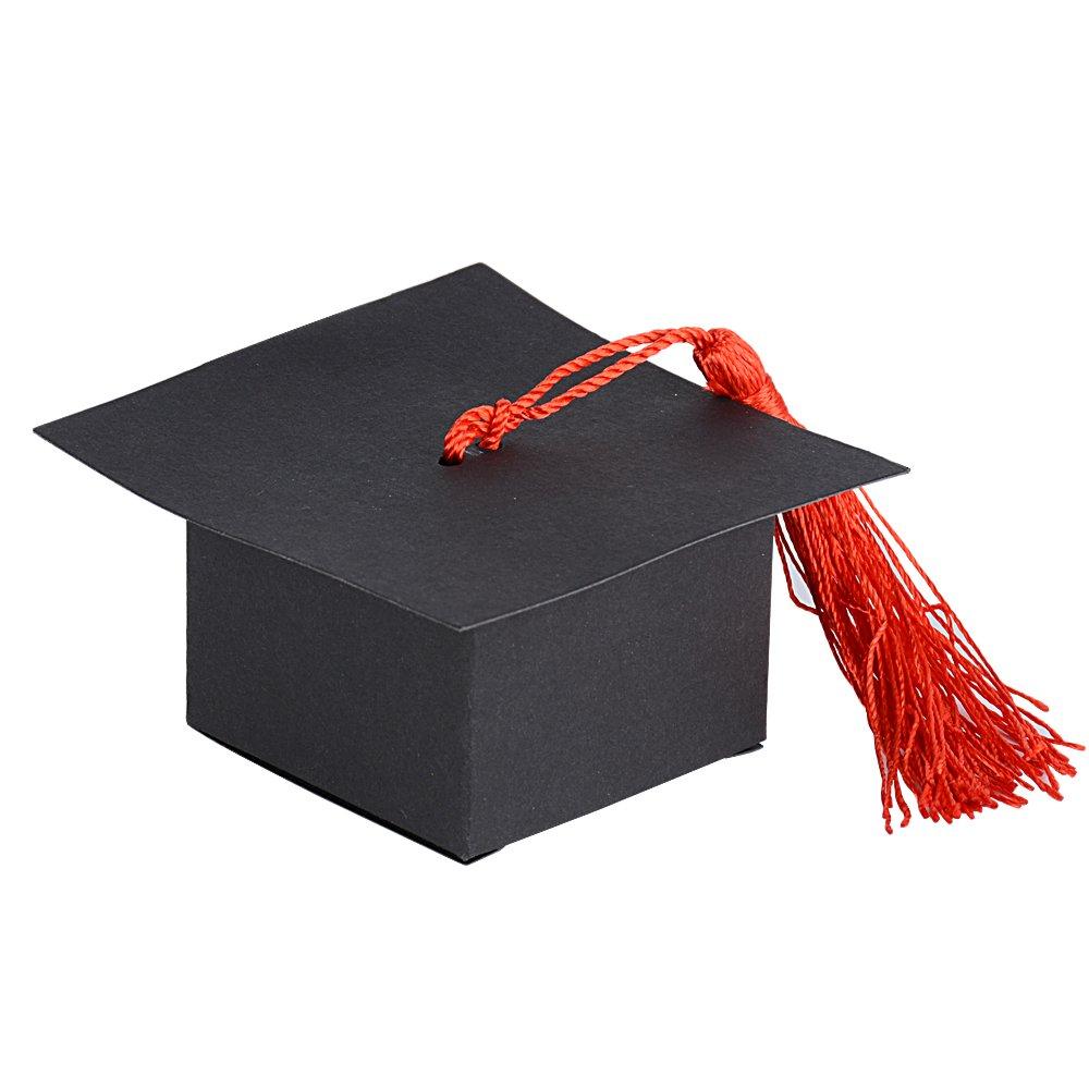 50pcs Boîte à Dragées Motif Diplôme Chapeau Bonbonnière pour Décoration de Diplôme Anniversaire Fête Cadeau Baptême Graduation (Rouge Tassel) DEOMOR