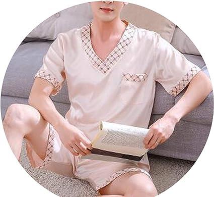 crack of dawn Pijama de Verano para Hombre, Seda de Hielo ...