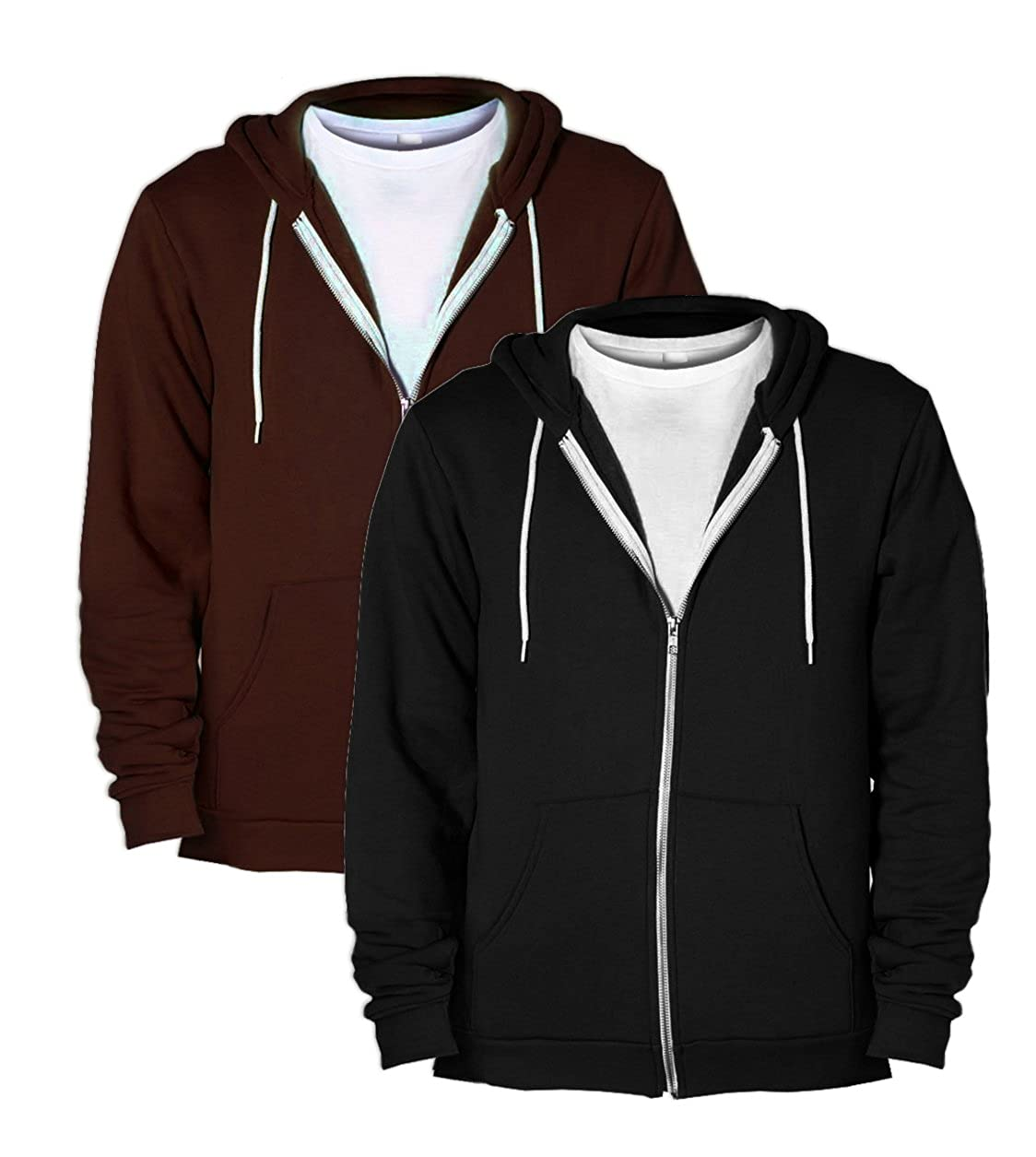 1 Brown American Apparel F497 Unisex Flex Fleece Zip Hoodie XX-Small 1 Black