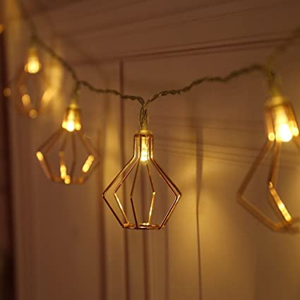 MUEQU Metal String Lights, 10ft 20LED Rose Gold Metal Geometric Lights  Battery Powered Fairy Lights