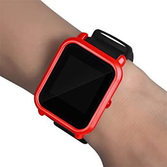 Malloom Ultra-Delgada Marco Caso PC Cubierta Proteger Shell Funda para xiaomi huami amazfit bip smartwatch (Rojo)