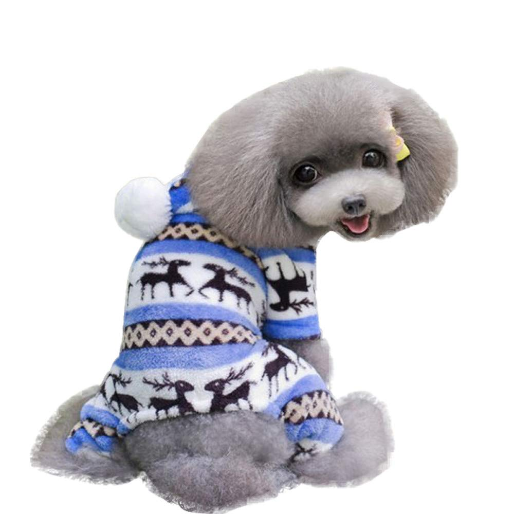 Fitfulvan Pet Dog Warm Clothes Puppy Jumpsuit Hoodie Coat Doggy (Blue,S)