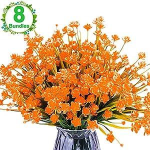 Funburg Artificial Fake Flowers,Shrubs Plants Indoor Outside,UV Protection,Hanging Planter Home Kitchen Garden Decor 91